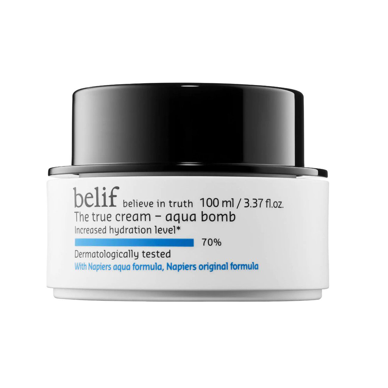 White jar of belif The True Cream- Aqua Bomb on a white background.