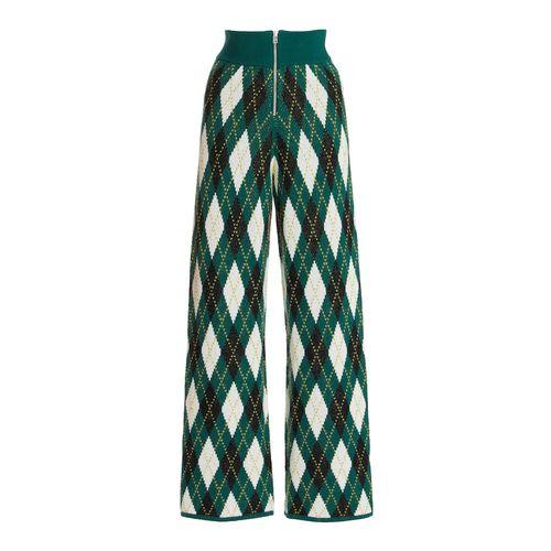 Staud Deck Argyle-Knit Cotton-Blend Pants