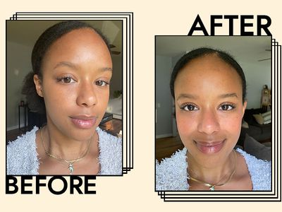 Writer before and after applying Flower Beauty's Blush Bomb