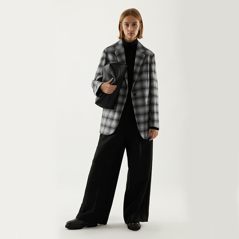 Recycled Wool Straight-Fit Checked Blazer