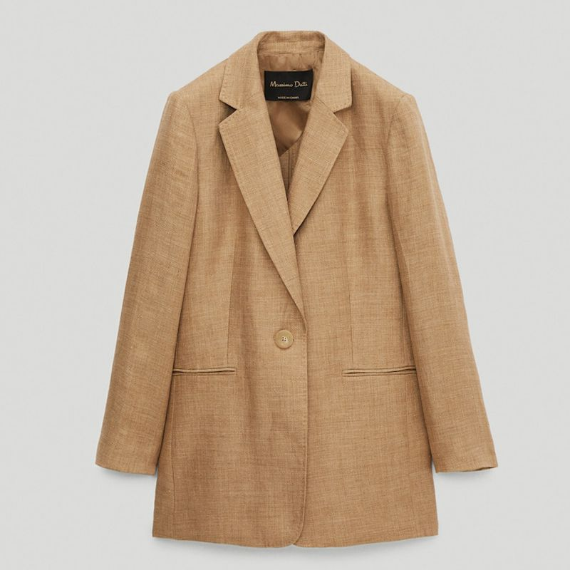 Linen Textured Single-Button Blazer