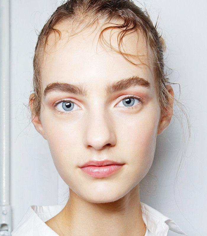 Model wearing frosty rose gold eyeshadow
