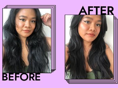 Editor Jesa before and after using the Dyson Flyaway attachment