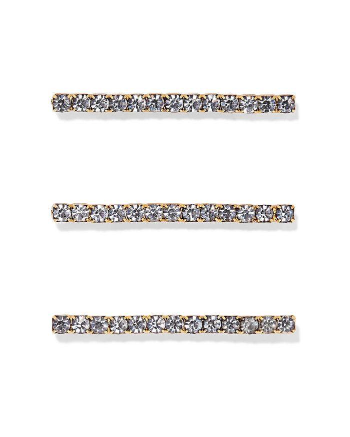 Jennifer Behr Fete Set of Three Gold-Tone Crystal Hair Pins