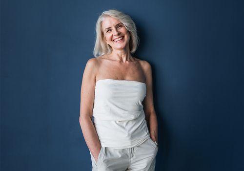 senior woman in white