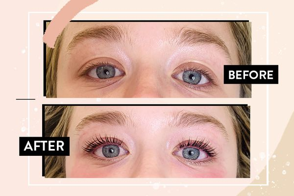 before and after photos of eyelash perm