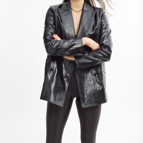 Stand Studio Emerina Faux Leather Blazer