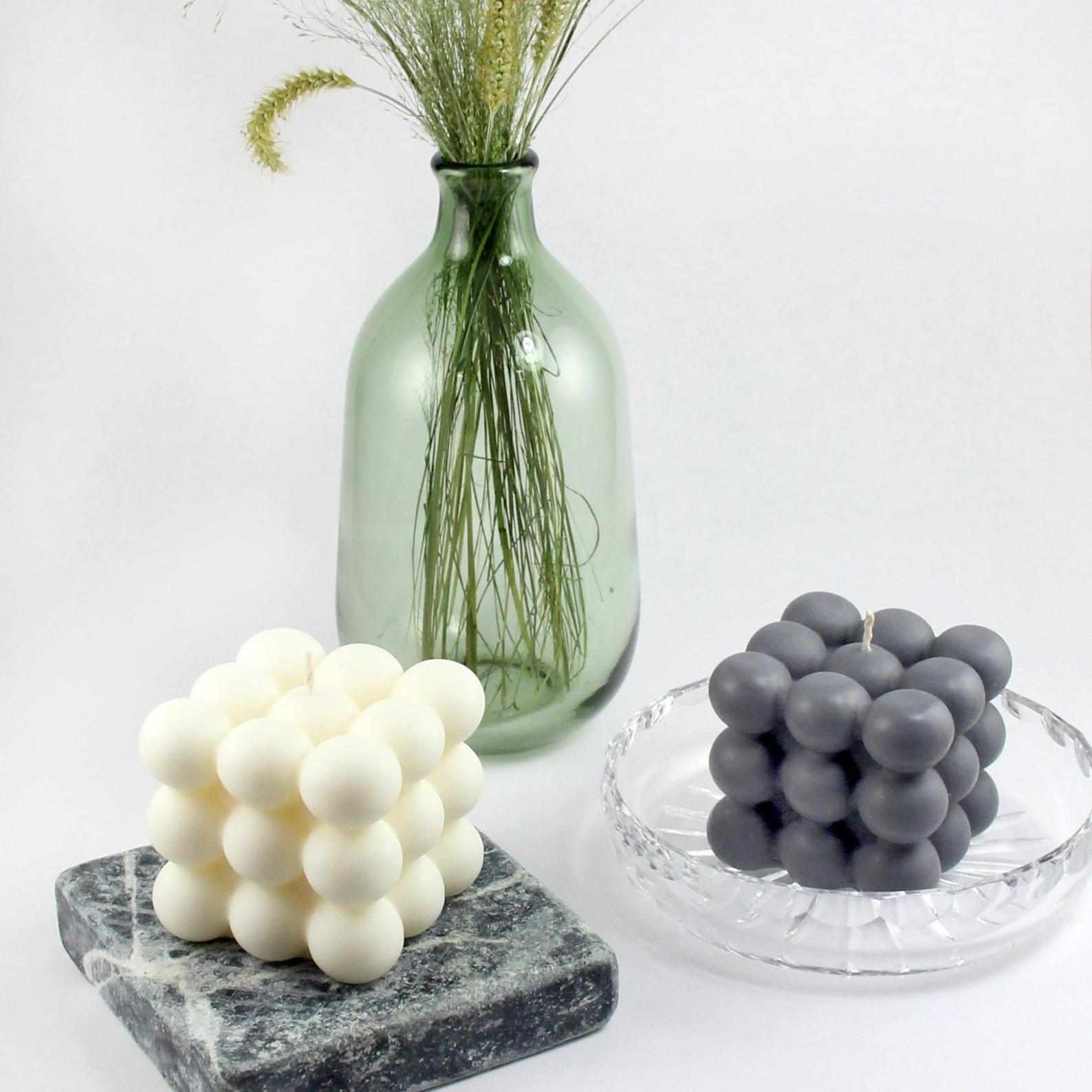 cube candles and vase