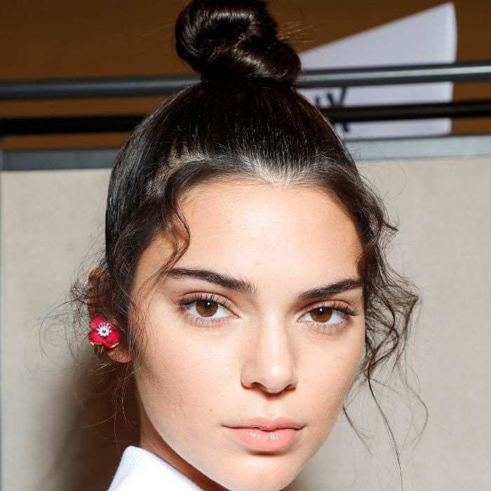 Kendall Jenner wearing her hair in a top-knot