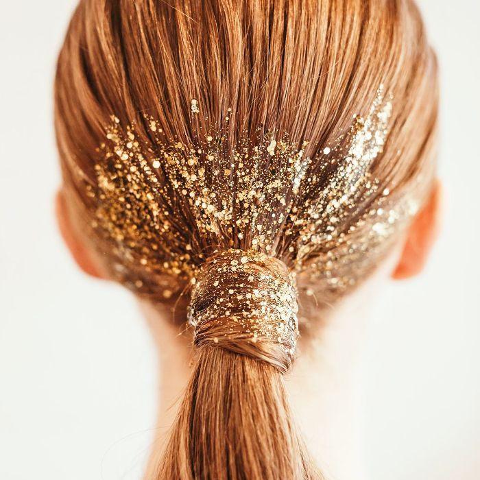 hair glitter ideas - ponytail