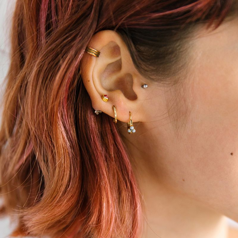 Crystal on Endless Heart Hoop Helix Piercing Tragus Piercing Choose Your Color Rook Piercing Cartilage Piercing Ring