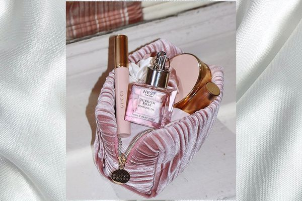 makeup bag of beauty products