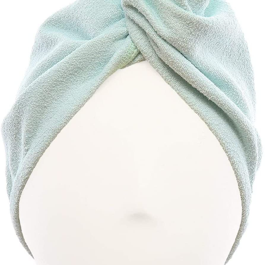 Khaki/&Coffee Hair Towel Wrap,Super Absorbent Microfiber Hair Turban Towel with Button Design to Dry Hair Naturally and Quickly M-bestl Hair Drying Towels