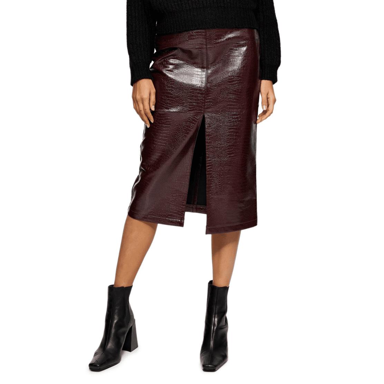 Topshop Crocodile Faux Leather Pencil Skirt