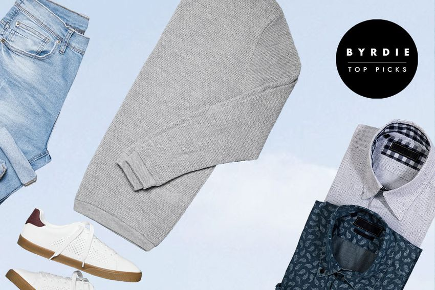 Photo composite of men's jeans, sneakers, dress shirts, and a sweater.