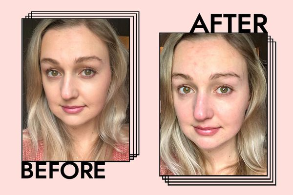 Before and after photo of makeup remover