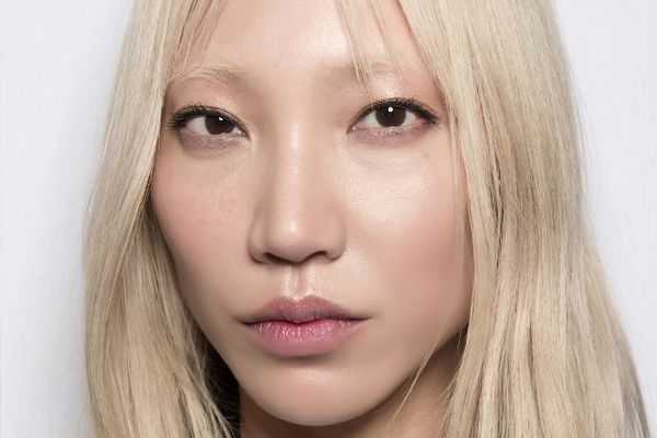 Korean model with blonde hair