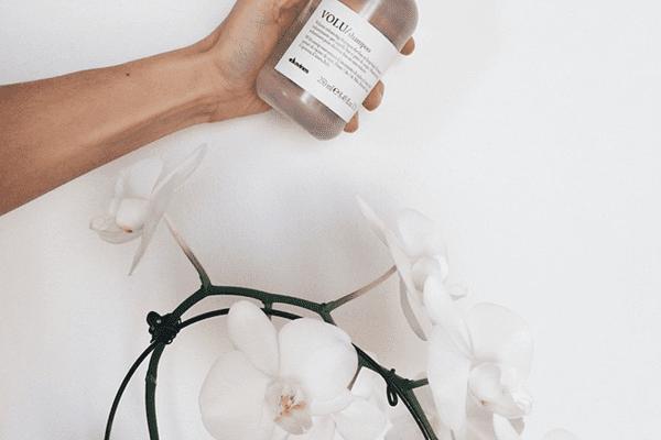 Hand holding bottle of shampoo above a white flower