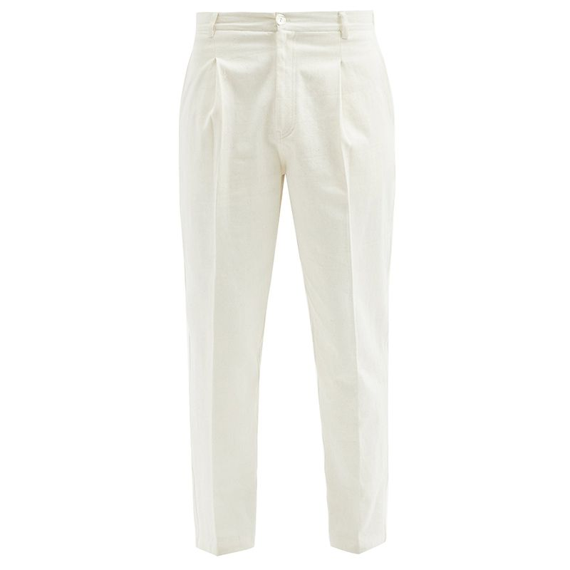 Pleated-Front Tapered-Leg Jeans