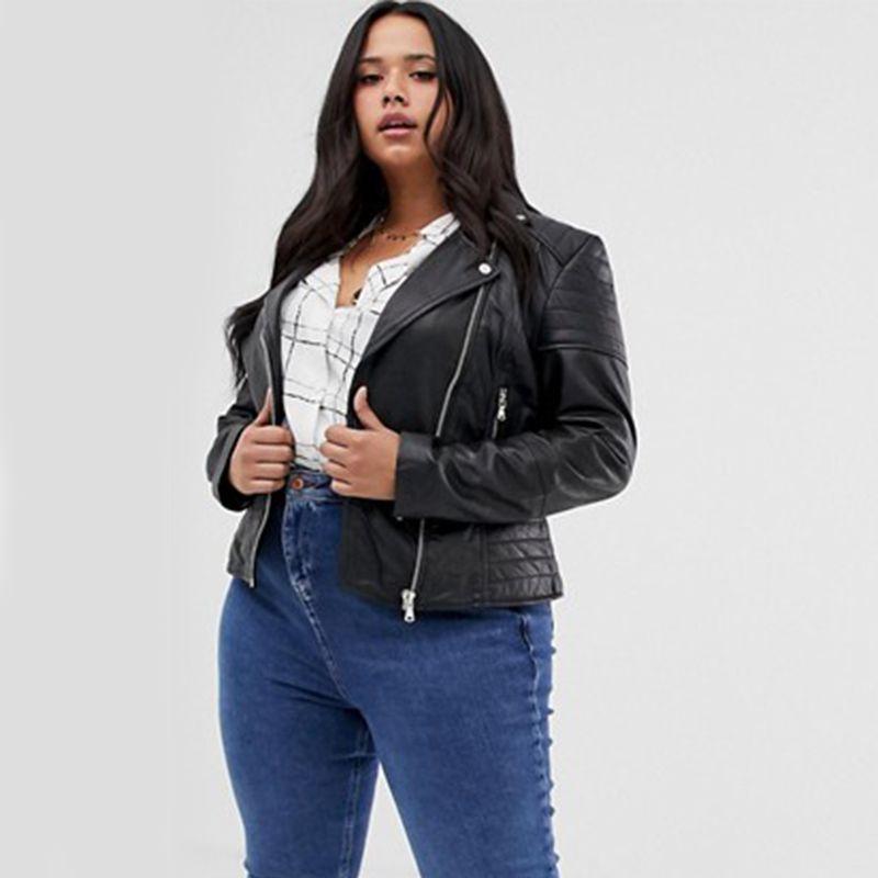 Plus Clara Leather Biker Jacket