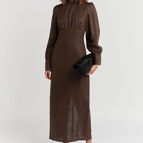 Dissh Elodie Dark Choc Linen Midi Dress