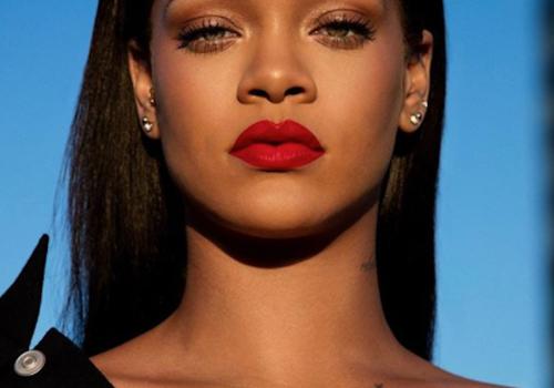 Rihanna wearing the new Fenty Beauty Lip Paint