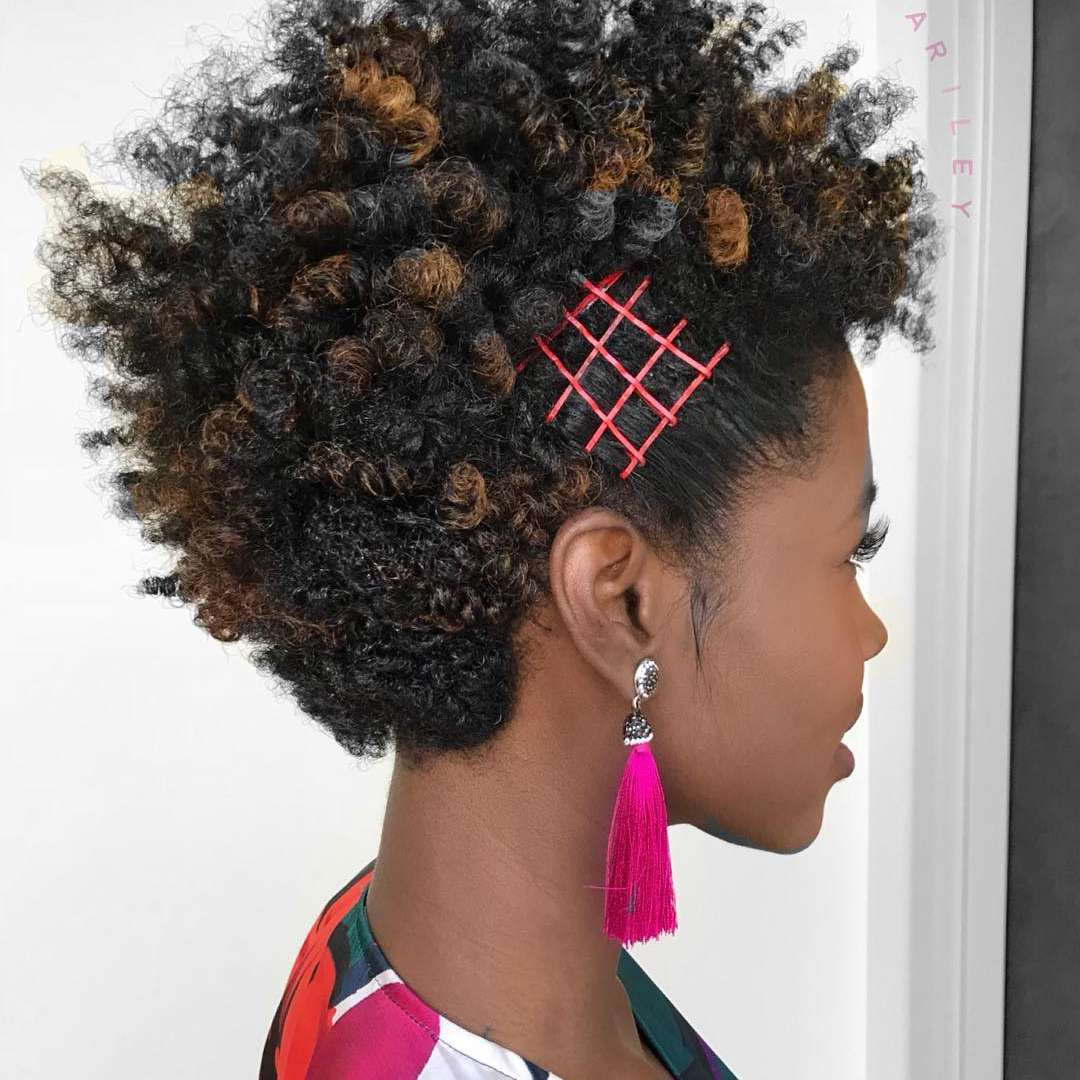 Curly natural short hair with bobby pin designs
