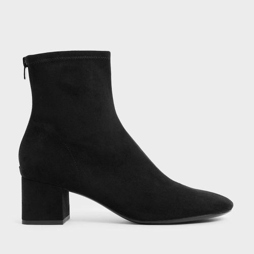 Charles and Keith Textured Block Heel Ankle Boots