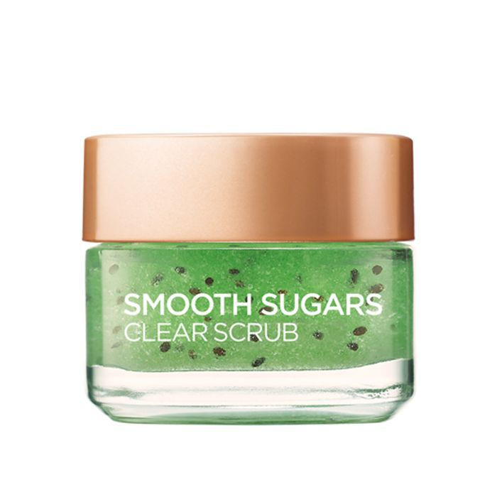 drugstore beauty launches 2018: L'Oreal Paris Smooth Sugar Clear Kiwi Face And Lip Scrub