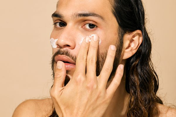 man with skincare