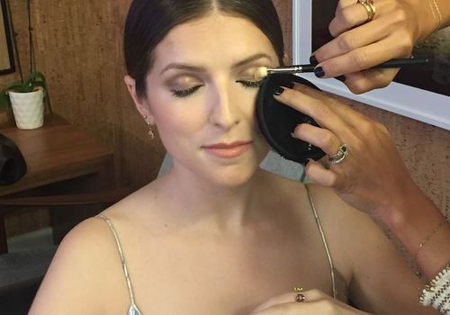 Anna Kendrick getting her makeup done
