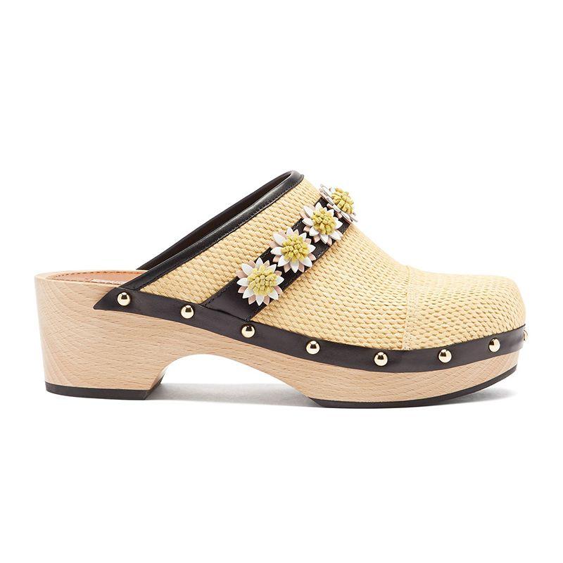 Jean Daisy-Embellished Raffia Clogs