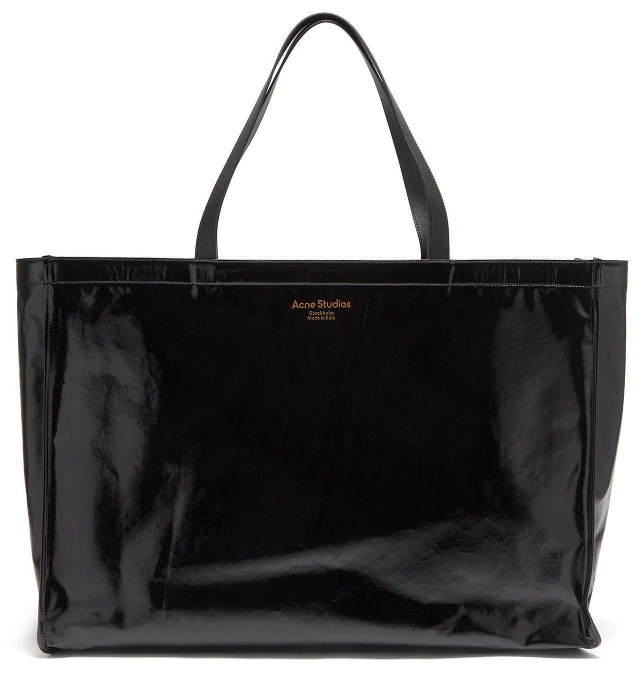 Acne Studios Agele Large Leather-Trim Coated-Canvas Tote Bag