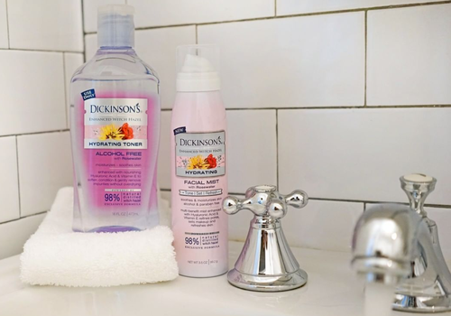dickinsons products on the ledge of a sink