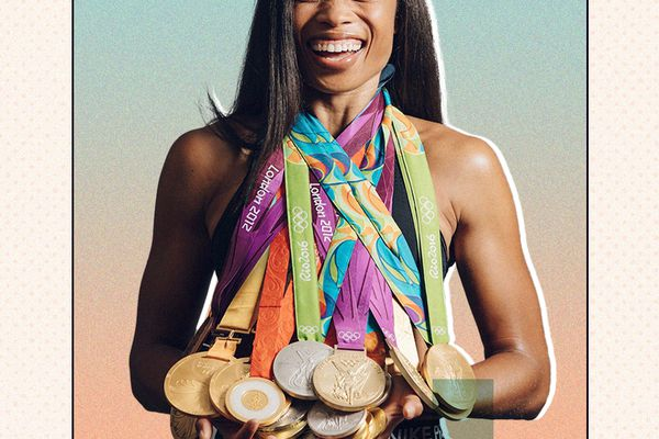 Allyson Felix with her Olympic medals