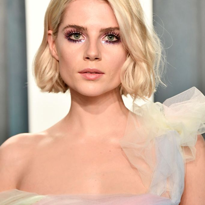 Lucy Boynton textured blonde bob