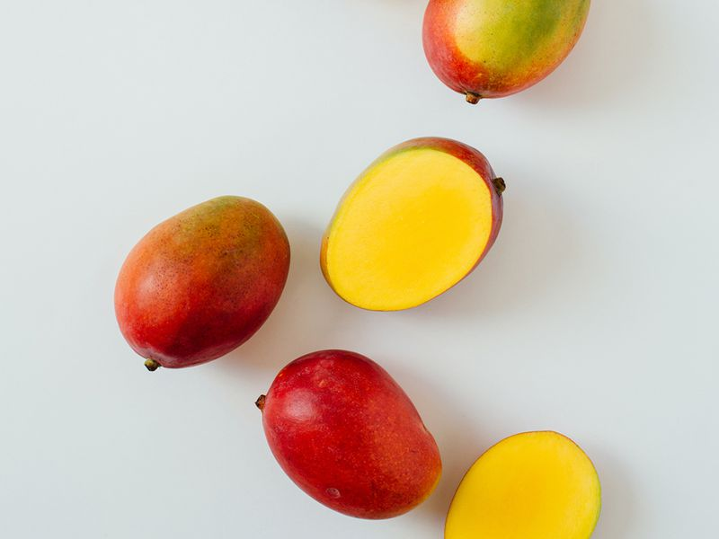 Mangoes on a white background