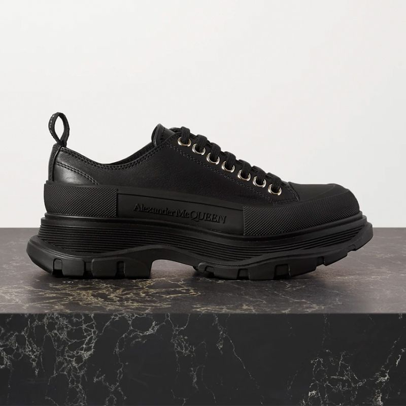 Leather Exaggerated-Sole Sneaker
