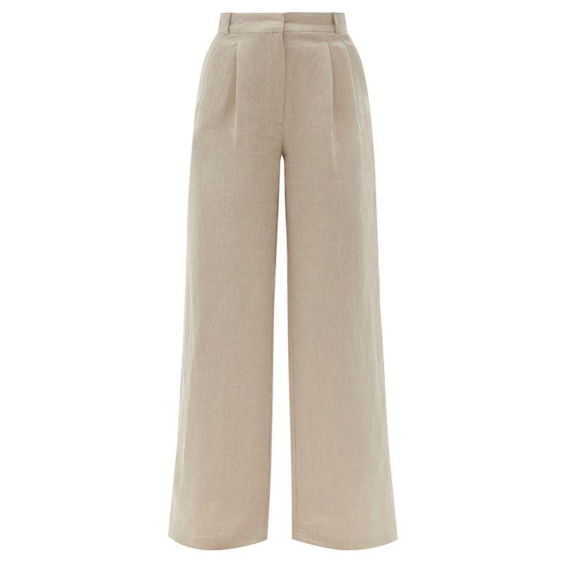 Rivello Pleated Wide-Leg Linen Trousers