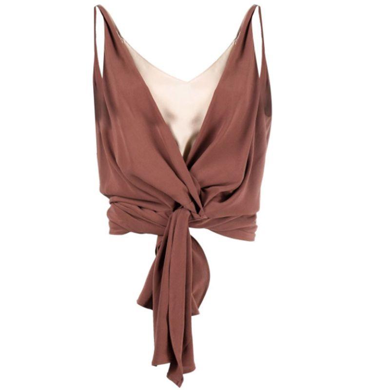 Silk Front-Tie Wrap Top