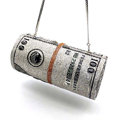 Dollar Roll Crystal Clutch ($134.60)