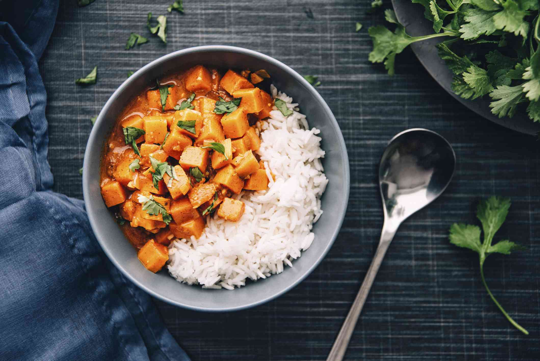 Bowl of sweet potato served with rice