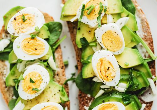 Avocado toast with hard boiled egg