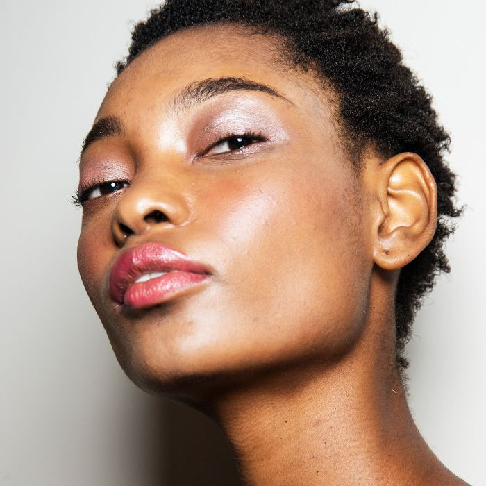 Model with beautiful, glossy skin