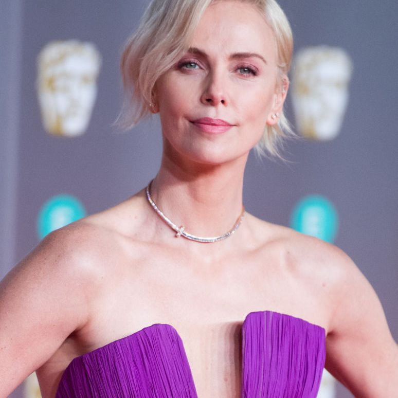 Charlize Theron platinum blonde side-parted bob