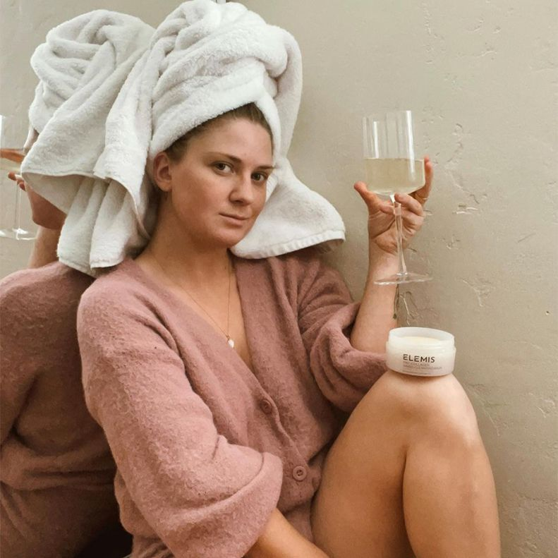 person relaxing during elemis facial
