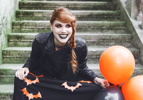 Redhead with witch makeup