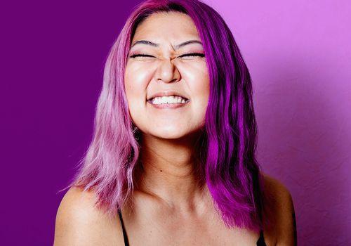 person with multi color lavender purple hair dye