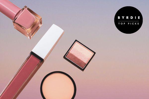 Photo composite of nail polish, lip gloss, and other makeup.
