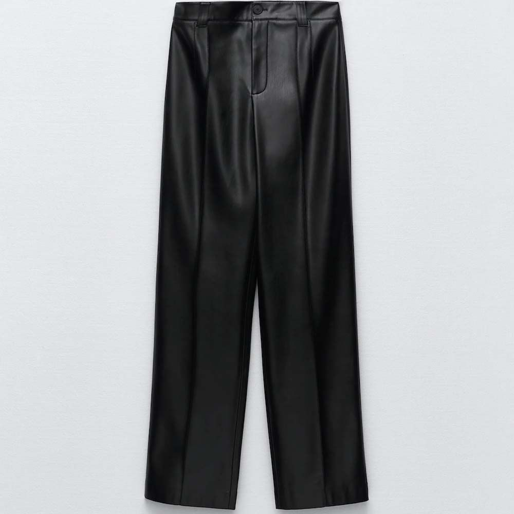 Faux Leather Full Length Trouser